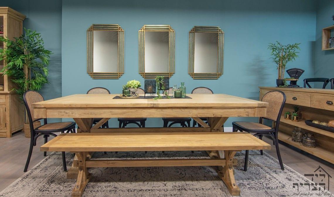 """ריהוט כפרי-עץ בוקיצה ממוחזר-שולחן אוכל נפתח - שולחן אבירים -ויטרינה-שולחן אוכל- כיסאות אוכל - קונסולות- שידות- מראות """"ליד הצריף, גדרה - ריהוט כפרי ועיצובים לבית 08-8598173"""
